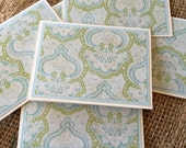 ELEGANT DAMASK Blank Greeting Note Cards All Occassion With Envelopes Set of 6