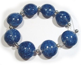 Small Mountain Blue  Lentils, Handmade Glass Beads,  Blue Lampwork  Beads, Lampwork Lentils, SRA Lentils