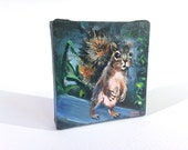 "Curious Squirrel 3""x3"" Miniature Painting on Canvas"