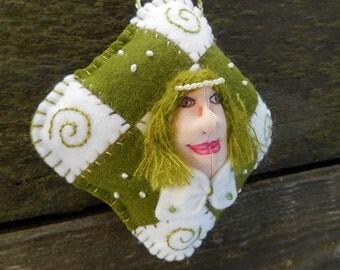 Fiber Art, Ooak Doll Ornament, Christmas Ornament, OOAK ORNAMENT, genuine pearls, Embroidery Art