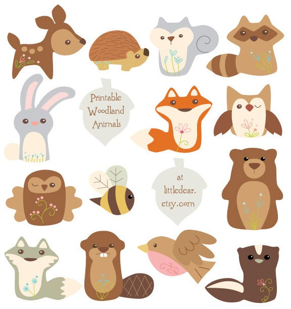 Printable Woodland Animals Banner Set 1 PDF digital ...