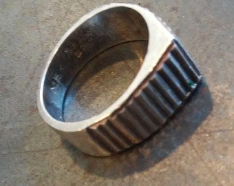 Vintage Pyramid Step Ring, Mexico, 925 Sterling Silver. Size 6