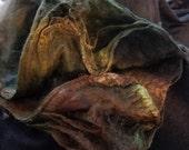 CRAZY Handpainted Silk Hankies Mulberry Spin Nuno Felt TARNISHED