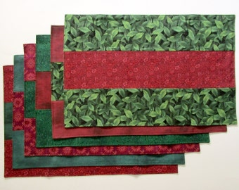 Placemats Winter Red and Green Set of 6