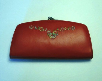 Vintage Baronet Fifth Avenue Clutch Purse w/ 4 Compartments Embroidered