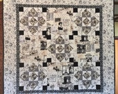 Quilted Wall Hanging - Paris fabric, Black and white quilt, Eiffel Tower, French landmarks, Jolie Pattern, Wallhanging Quilt, Elegant