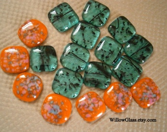 Fused Glass Cabochons Orange and Teal, Glass Cabochons, Clearance Sale Glass Cabs,  Willow Glass