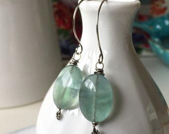 Green Flourite Earrings. Mineral jewelry, natural gem earrings. Handforged sterling silver earwires