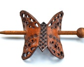 Pony Tail Stick, Leather Hair Clip, Brown Butterfly
