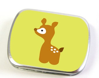 Deer Hinged Tin Box in Green (small or large)