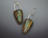 Sterling silver dangle drop earrings Iridescent faux boulder opal polymer sterling beads and ear wires faux wood