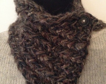 Shades of Dark Brown Textured Cowl Hand Knit Chunky Rustic Neck Warmer with Button