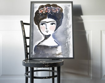 Frida in red and blue - Original watercolor painting by Danita, frameable wall art prints and ready to hang wood blocks.