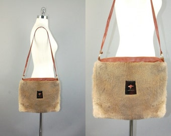 Vtg Australia genuine Kangaroo fur shoulder bag purse