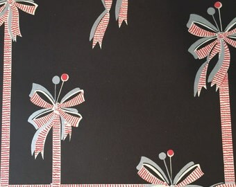 1950s Mid-Century Wallpaper Ribbons Bows Design