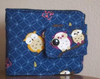Fabric Wallet |  Billfold Wallet | Vegan wallet | Wallet | MInimalist | Owl wallet