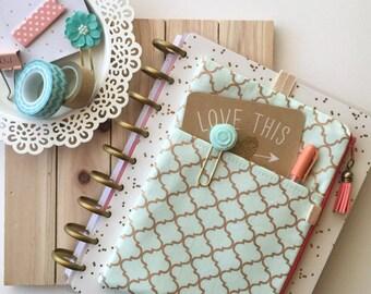 Mint and Gold planner zipper pouch, planner band accessories organizer - Fits Kikki K planner, Erin Condren Planner, Happy Planner, etc.