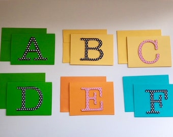 Handmade Alphabet Note Cards Free Domestic Shipping