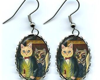 Dorian Gray Cat Earrings Oscar Wilde The Picture Of Dorian Gray Dark Cat Art Cameo Earrings 25x18mm Gift for Cat Lovers Jewelry