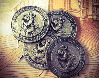 SAINT CHRISTOPHER MEDAL Vintage Religious Look Then Go Reassured French
