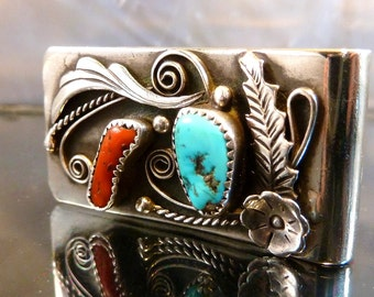 Navajo Money Clip Turquoise & Coral in sterling silver southwestern vintage Native American Indian Jewelry