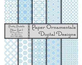 Pastel Blue Digital Paper Pack, Instant Digital Download, Digital Scrapbook Paper, Paper Pattern, Spring Printable Paper, Commercial Use