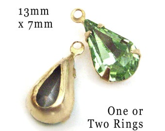 Peridot Green Glass Beads, Pear or Teardrop, Brass Settings, 13mm x 7mm, One or Two Rings, Set Stones, Cabochon, Earring Dangles, One Pair
