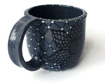 Ceramic Mug - Mottled Gray and Black Flower Doodle Design Mug