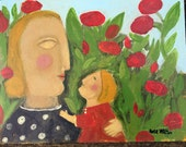 mother and child in the garden Original by Rose Walton