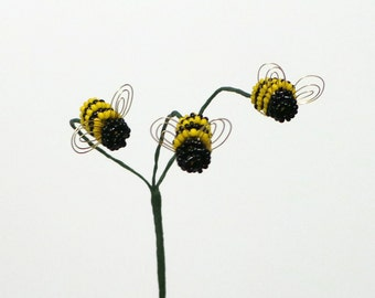 Bumblebee, Bumble bee,  Trio, Plant Stick, Deep Yellow For Your Beaded or Artificial Flower Arrangement