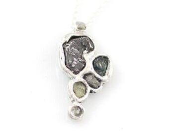 Meteorite, Rough Diamond, and Sapphire Pendant in Sterling Silver #15 - Ready to Ship