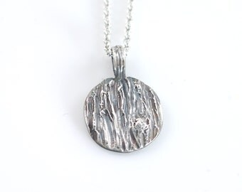 Tree Bark Pendant with metal knot in sterling silver with patina - eco-friendly recycled metal - ready to ship