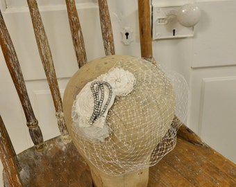 Bridal Fascinator, Blusher Veil, Mini Birdcage Veil With Ivory Rose and Rhinestones, Ready to Ship