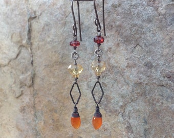 Citrine, CARNELIAN and GARNET linear earrings, oxidized sterling silver, Multi gemstone earrings