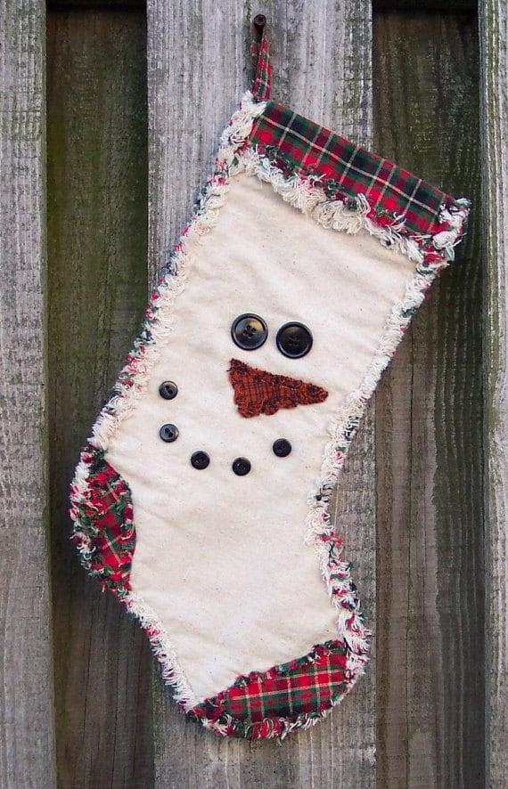 Snowman Face Rag Quilt Stocking E Pattern Pdf Digital Pattern