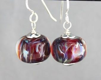 Purple Lampwork Earrings, Glass Bead Earrings, Dangle Earrings