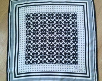 Vintage 1990s Silk Scarf Coach Black White Gray CC Signed 2016304