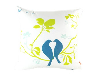 Love Birds on a branch 18 Inches Square Cotton Linen Pillow