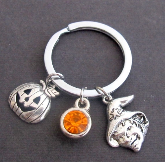 Halloween Key Chain, Purmpkin Key Ring, Jack O Lantern Keychain, Halloween Pumpkin Keychain with Birthstone, Free Shipping USA