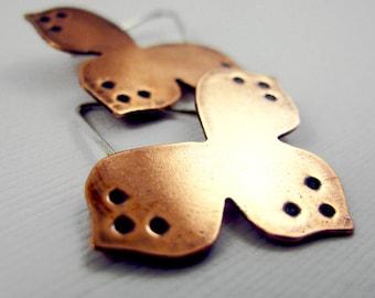 Copper Flower Hoops - Sterling Silver and Copper - Three Petal Flower Earrings