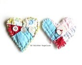 2 Heart patches, handstitched, embroidered, featured in GreenCraft magazine, heart shape, vintage quilt