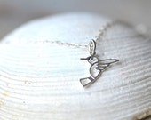 ON SALE Hummingbird Necklace Sterling Silver Hummingbird Jewelry Light Bird Necklace Unique Bird Pendant Necklace Ladies Gift Teen Gift for