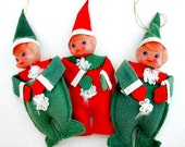 Pixie Elf Vintage Ornaments - Set of 3 - Vintage Collectible Christmas Decor