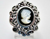 Cameo Mother of Pearl Vintage Sterling Silver Ring Size 6-1/2 - Marked 925