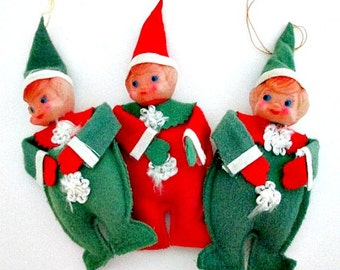 Pixie Elf Vintage Ornaments - Set of 3 - Vintage Collectible Christmas Decor