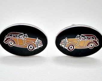 Avon 1972 Rolls Royce Vintage Enamel Cuff Links Cufflinks - Vintage Men's Dude Jewelry Gift