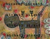 Black Cat Art Print From Mixed Media Original Canvas  Outsider Folk Art Primitive  Free Shipping Artist Hickety Pickety