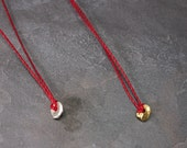 Red Threads Collection:  Zen Necklace of waxed linen and Fine Silver or 22K Gold Vermeil