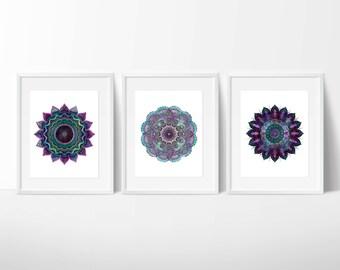 Set of Three Mandala Prints / Yoga Prints / Meditation Prints / Zen Prints / Purple Mandalas / Sacred Geometry Prints / Rectangular + Square
