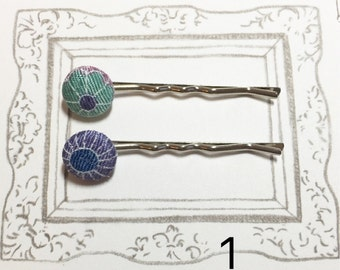 Flowers Fabric Covered Bobby Pins, Japanese Kimono Fabric Bobby Pin, Cute Bobby Pin for Girls, Christmas Gift